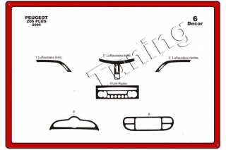 Peugeot 206 PLUS  Dash Trim Kit 3M 3D 10-Parts