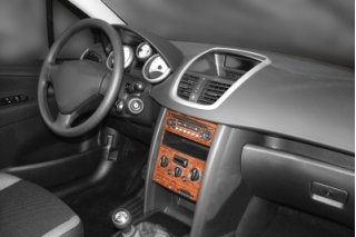 Peugeot 207  Dash Trim Kit 3M 3D 17-Parts