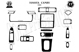 Toyota Camry XV30 01.00 - 12.02 Dash Trim Kit 3M 3D 17-Parts