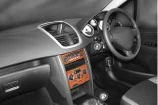 RHD Peugeot 207  Dash Trim Kit 3M 3D 17-Parts