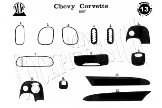 Chevrolet Corvette C5 Dash Trim Kit 3M 3D 13-Parts