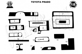 Toyota Land Cruiser Prado 90 01.01 - 12.02 Dash Trim Kit 3M 3D 18-Parts
